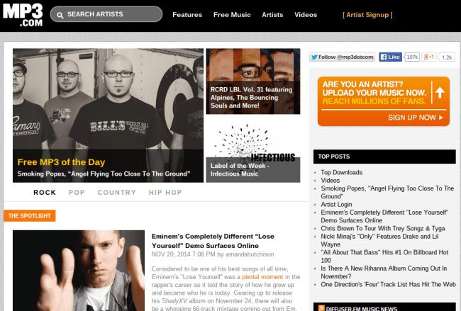 MP3.com Site