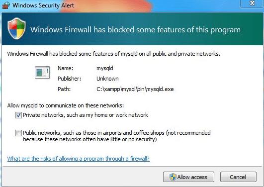 Security Alert on XAMPP