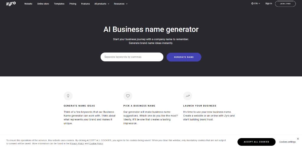 Zyro Business Name Generator