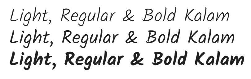 Kalam hand written font