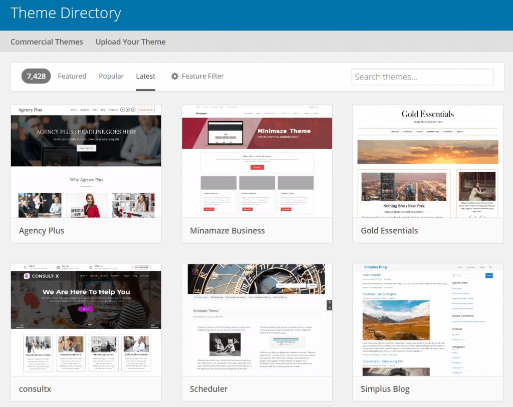 7 wordpress theme directory