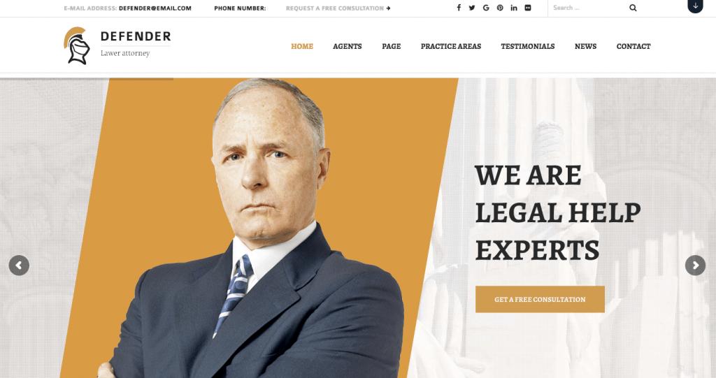 defender legal wordpress theme