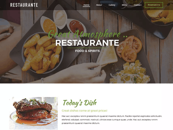 restaurante free wordpress theme