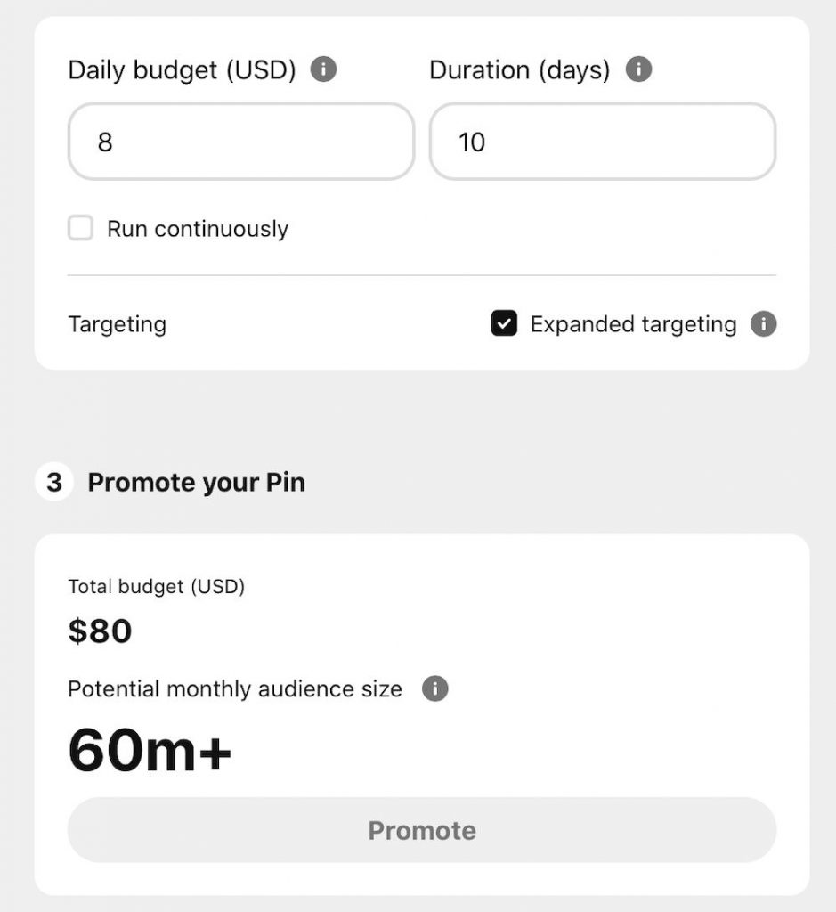 set pinterest ads budget