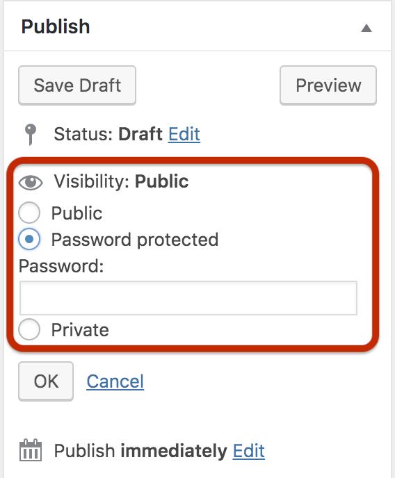 wordpress native password feature