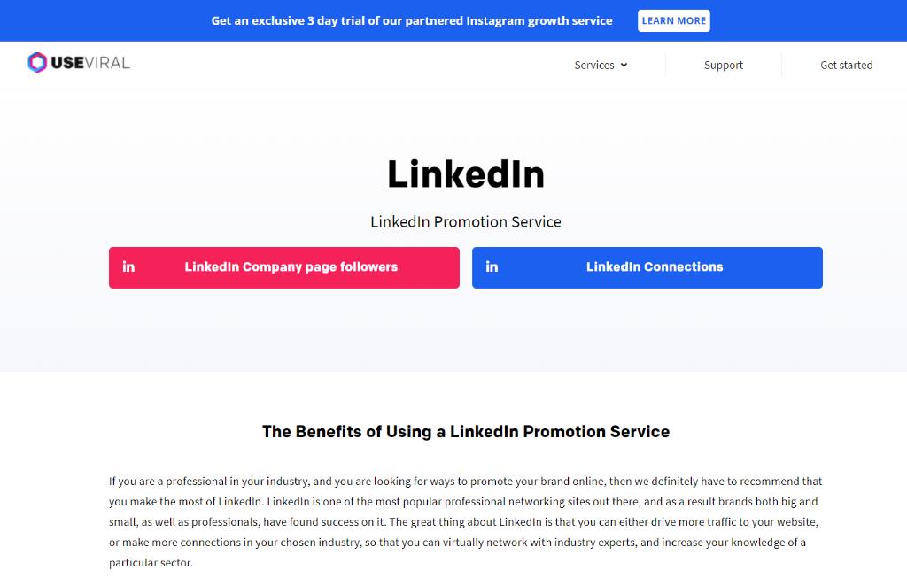 UseViral LinkedIn Promotion Service
