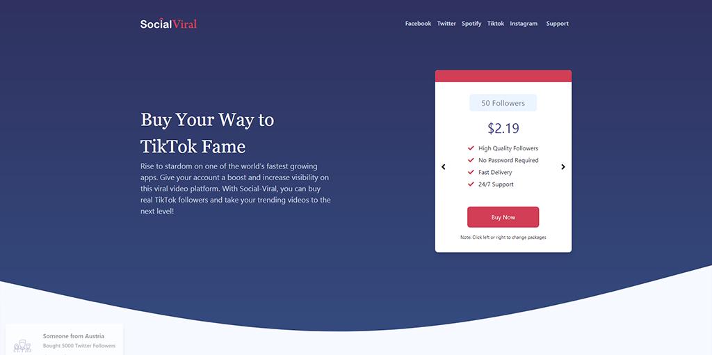 SocialViral - Buy Tiktok Followers