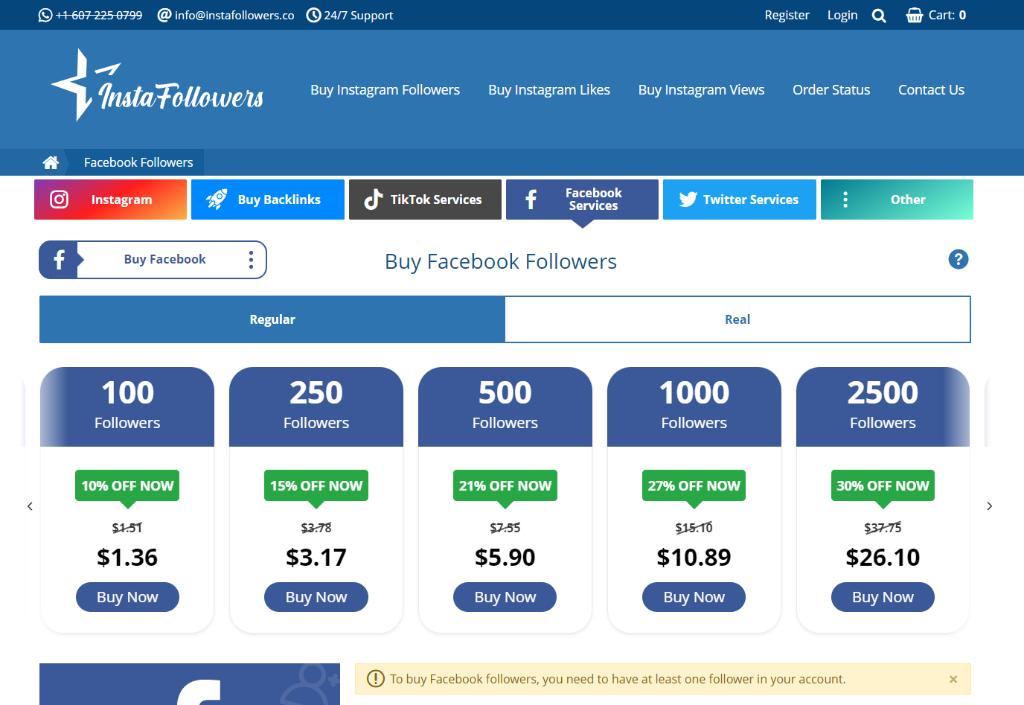 InstaFollowers Facebook Followers