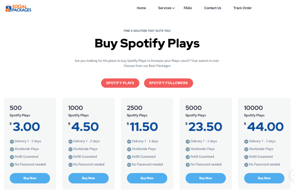 Socialpackages.net Spotify Plays