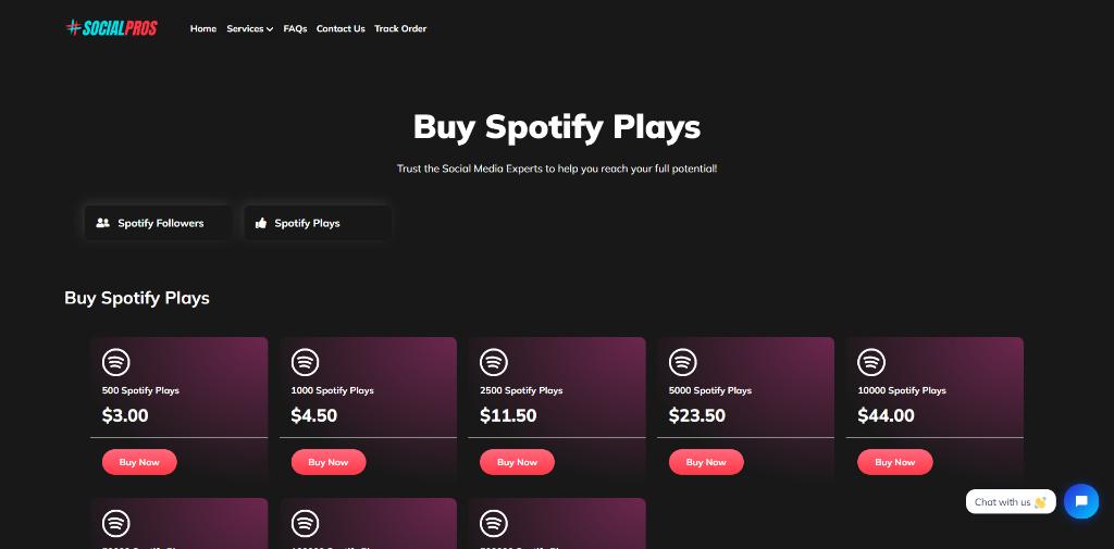 Socialpros.io Spotify Plays